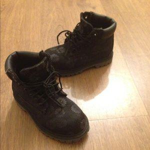 Timberlands flower print construction boots sz 10